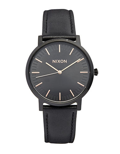 Nixon Analog Black Leather Strap Watch-BLACK-One Size