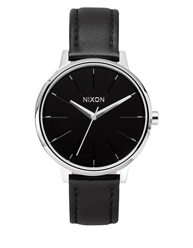 Nixon Analog Kensington Stainless Steel Leather Strap Watch-BLACK-One Size