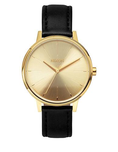 Nixon Analog Kensington Leather Watch-GOLD-One Size