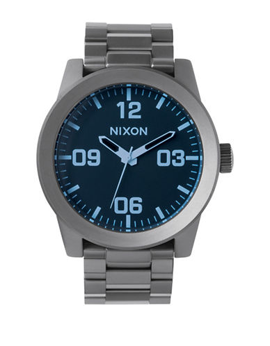 Nixon Corporal SS Metal Stainless Steel Link Bracelet Watch-BLUE-One Size