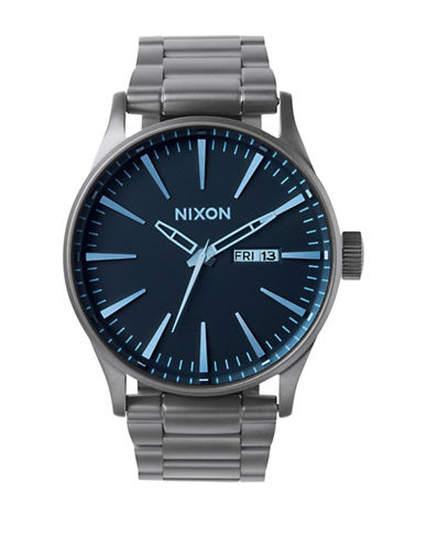 Nixon Analog Sentry 38 Stainless Steel Bracelet Watch-GREY-One Size