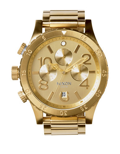 Nixon 48-20 Chronograph All-Gold Stainless Steel Bracelet Watch-GOLD-One Size