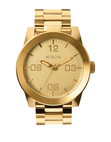 Nixon Analog Corporal SS Goldtone Watch-GOLD-One Size