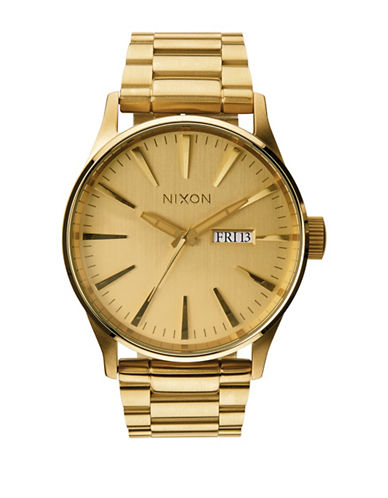 Nixon Analog Sentry SS Goldtone Watch-GOLD-One Size