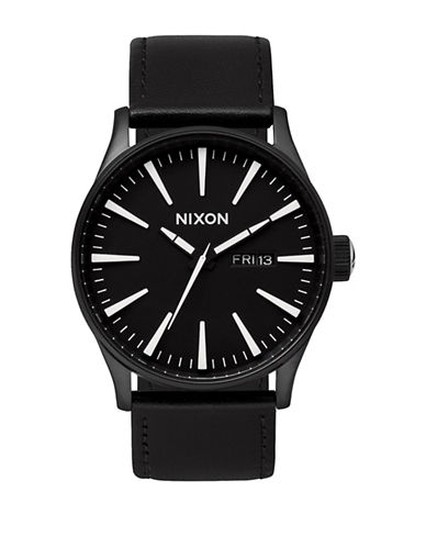 Nixon Analog Sentry 38 Black Leather Strap Watch-BLACK-One Size