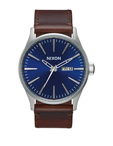 Nixon Analog Sentry Leather Stainless Steel Watch-BLUE-One Size