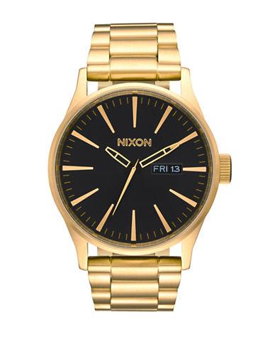 Nixon Analog Sentry SS Goldtone Watch-GOLD-One Size