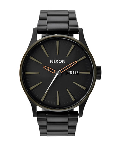 Nixon Analog Sentry Matte Black Stainless Steel Bracelet Watch-BLACK-One Size