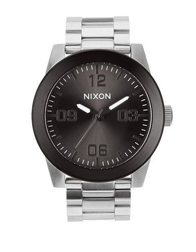 Nixon Analog Corporal Black Dial Stainless Steel Bracelet Watch-SILVER-One Size