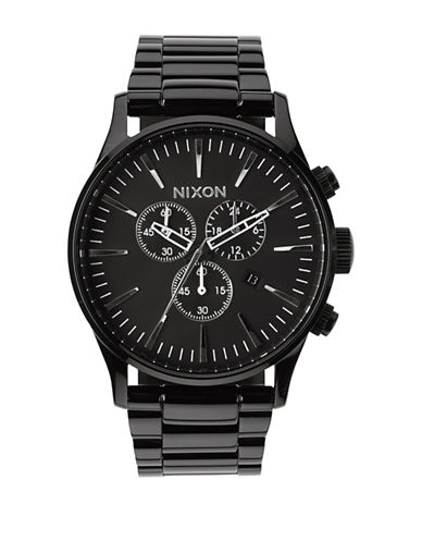 Nixon Chronograph Sentry Black IP Bracelet Watch-BLACK-One Size