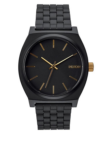 Nixon Analog Time Teller Black IP Bracelet Watch-BLACK-One Size
