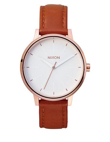 Nixon Analog Kensington Leather Watch-ROSE GOLD-One Size