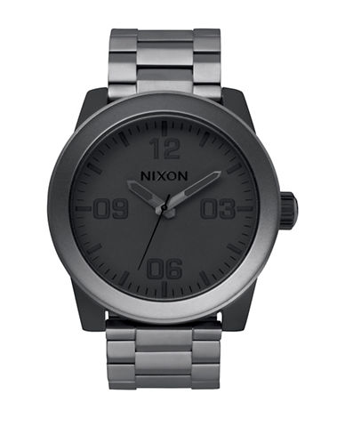Nixon Analog Corporal Stainless Steel Watch-GREY-One Size