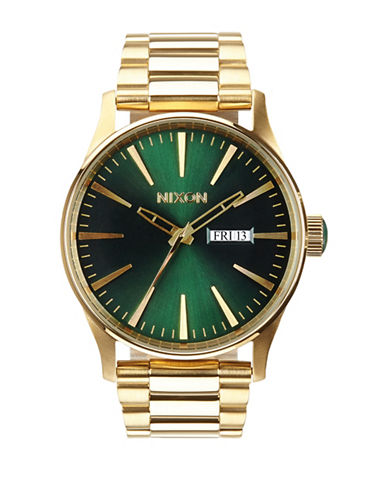 Nixon Analog Sentry 38 Goldtone Bracelet Watch-GOLD-One Size