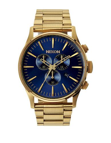 Nixon Chronograph Sentry Goldtone Bracelet Watch-BLUE-One Size