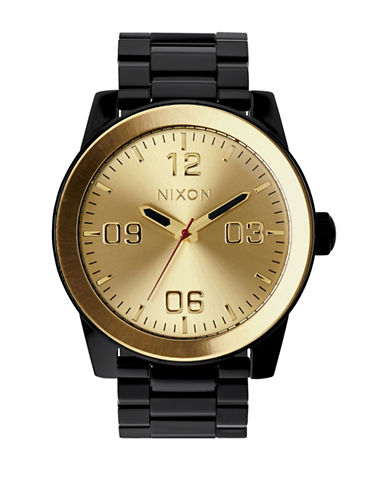 Nixon Analog Corporal SS Two-Tone Bracelet Watch-BLACK-One Size
