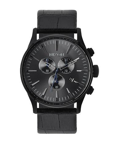 Nixon Chronograph Sentry 38 Black IP Bracelet Watch-BLACK-One Size
