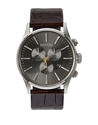 Nixon Chronograph Sentry Leather Strap Watch-BROWN-One Size