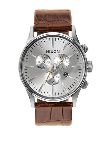 Nixon Chronograph Sentry Stainless Steel Leather Strap Watch-SILVER-One Size