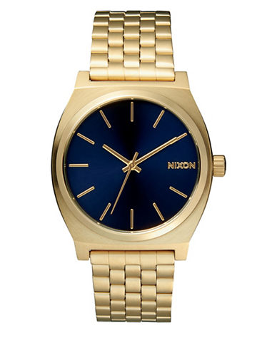 Nixon Analog Time Teller Goldtone Bracelet Watch-BLUE-One Size