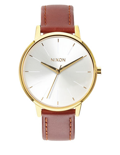 Nixon Analog Kensington Two-Tone Leather Strap Watch-GOLD-One Size