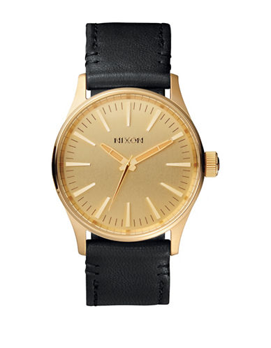 Nixon Analog Sentry 38 Goldtone Leather Strap Watch-GOLD-One Size