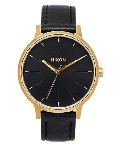 Nixon Analog Kensington Goldtone and Leather Watch-GOLD-One Size