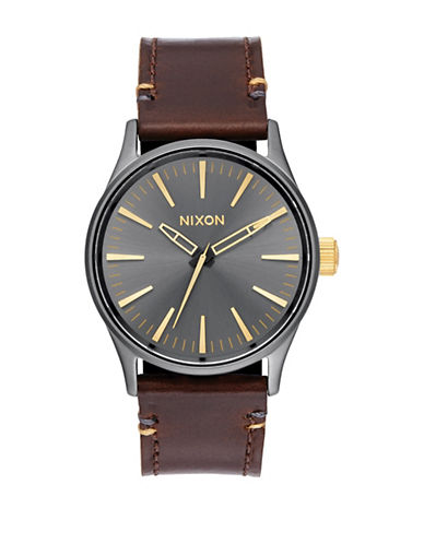 Nixon Analog  Sentry Stainless Steel Leather Strap Watch-BROWN-One Size