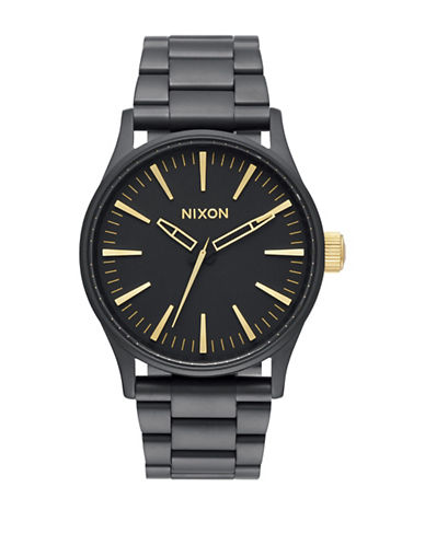 Nixon Analog Sentry 38 Matte Stainless Steel Watch-BLACK-One Size