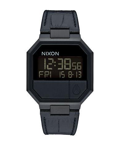 Nixon Digital Re-Run Leather Black Croc Leather Strap Watch-BLACK-One Size