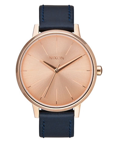 Nixon Analog Kensington Goldtone Leather Strap Watch-ROSE GOLD-One Size