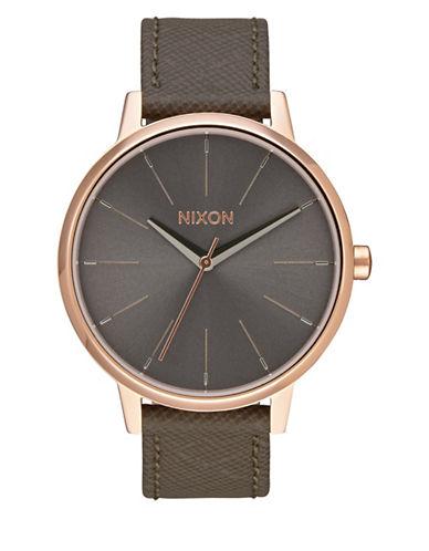 Nixon Analog Kensington Goldtone Leather Strap Watch-PINK-One Size