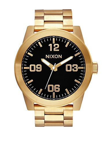 Nixon Analog Corporal Goldtone Stainless Steel Bracelet Watch-GOLD-One Size