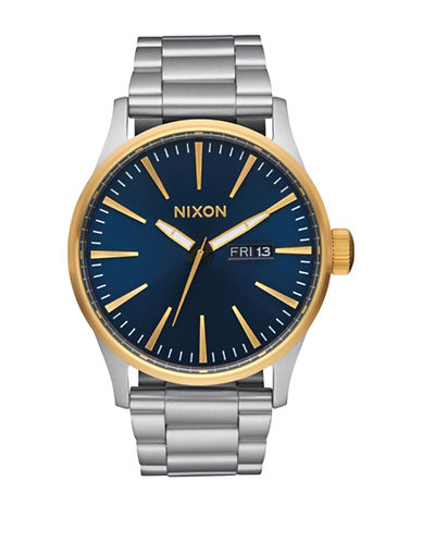 Nixon Sentry Stainless Steel Blue Bracelet Watch-BLUE-One Size