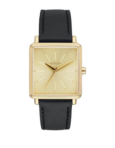 Nixon Analog K Squared Leather Strap Watch-BLACK-One Size