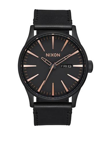 Nixon Analog  Sentry Leather Strap Watch-BLACK-One Size