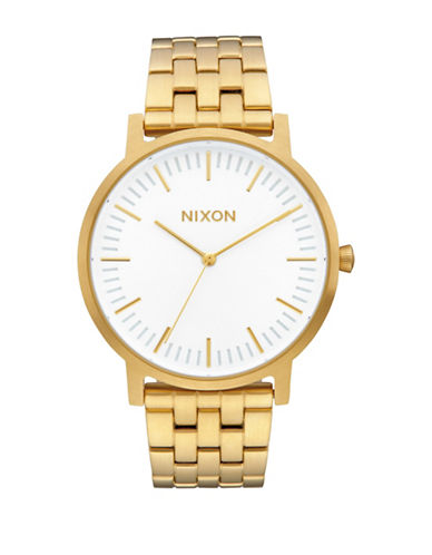 Nixon Analog Porter Goldtone Bracelet Watch-WHITE-One Size