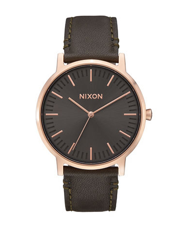 Nixon Analog Porter Rose Goldtone and Gunmetal Leather Strap Watch-ROSE GOLD-One Size