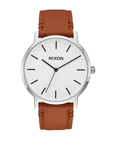 Nixon Analog Porter Stainless Steel Leather Strap Watch-WHITE-One Size