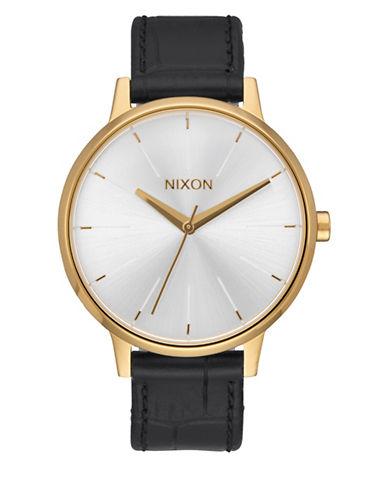Nixon Analog Kensington Two-tone Leather Strap Watch-GOLD-One Size
