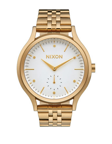 Nixon Analog Sala Gold White Stainless Steel Bracelet Watch-GOLD-One Size