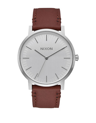 Nixon Porter Silvertone Analog Leather Strap Watch-BROWN-One Size