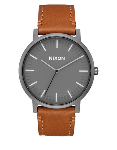 Nixon Analog Porter Leather Strap Watch-BROWN-One Size