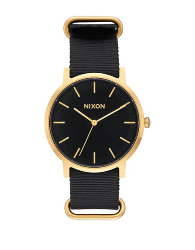 Nixon Analog Porter Nylon Gold Black Nylon Strap Watch-BLACK-One Size