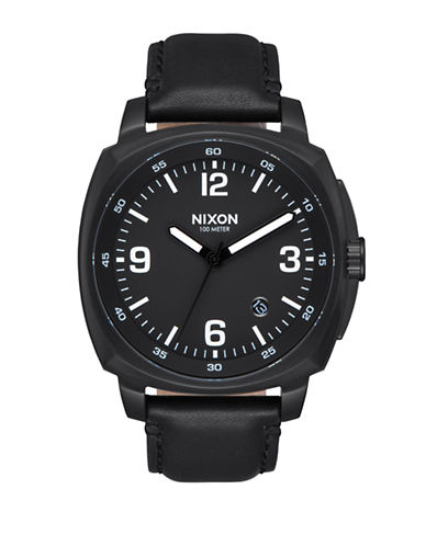 Nixon Analog The Charger All Black Leather Strap Watch-BLACK-One Size