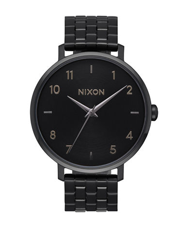 Nixon Analog Arrow All Black Stainless Steel Bracelet Watch-BLACK-One Size