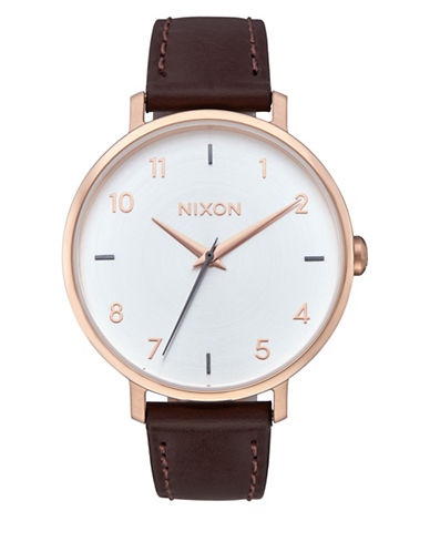 Nixon Analog Arrow Leather Rose Gold Silver Leather Strap Watch-ROSE GOLD-One Size