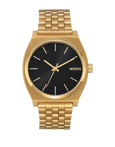 Nixon Analog Time Teller All Gold Black Sun Stainless Steel Bracelet Watch-GOLD-One Size