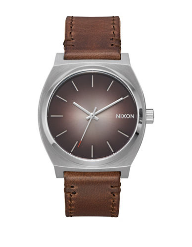Nixon Analog Time Teller Ombre Taupe Leather Strap Watch-BROWN-One Size