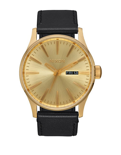 Nixon Analog Sentry Leather Gunmetal All Gold Black Leather Strap Watch-GOLD-One Size